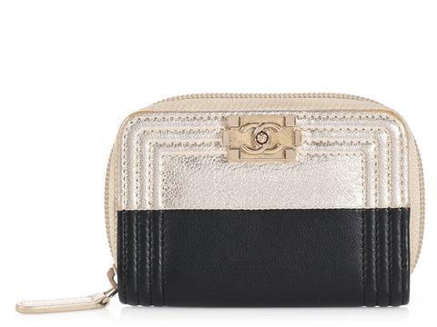 Chanel Black and Gold Boy Coin Purse