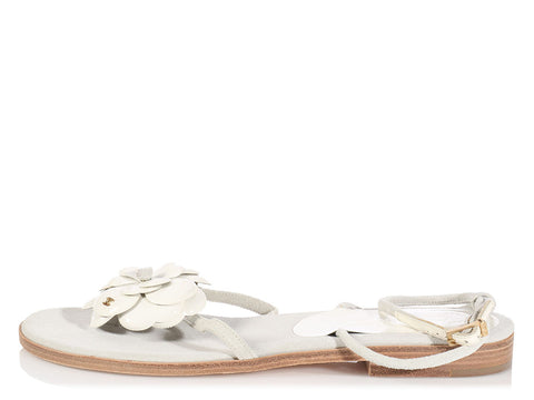 Chanel White Camellia Thong Sandals