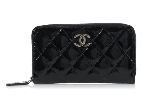 Chanel Black Patent Medium Zippy Wallet