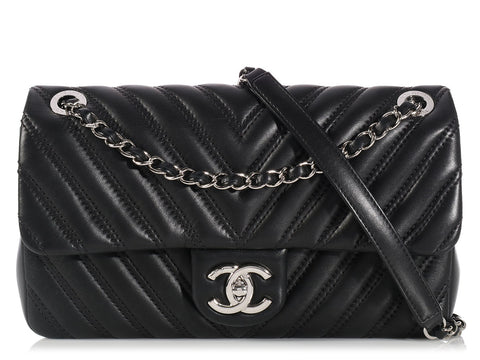 Chanel Black Chevron Single Flap