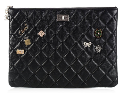 Chanel Large Black Charm Zipped Case