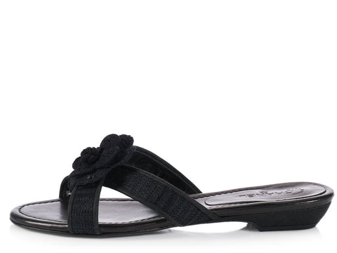 Chanel Black Camellia Slide Sandals