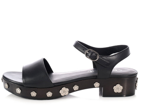 Chanel Black Camellia Sandals