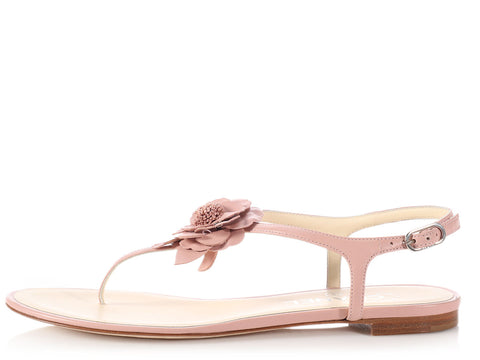 Chanel Pink Camellia Thong Sandals