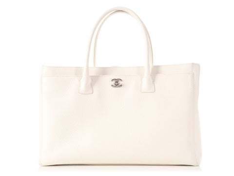 Chanel XL White Executive Cerf Tote