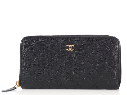 Chanel Black L-Zip Wallet