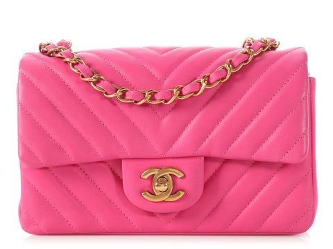 Chanel Mini Pink Chevron Classic