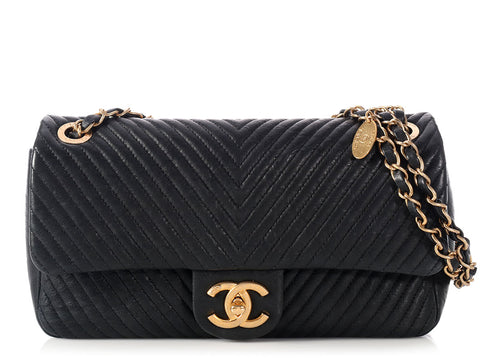 Chanel Jumbo Dark Navy Chevron Medallion Charm Flap
