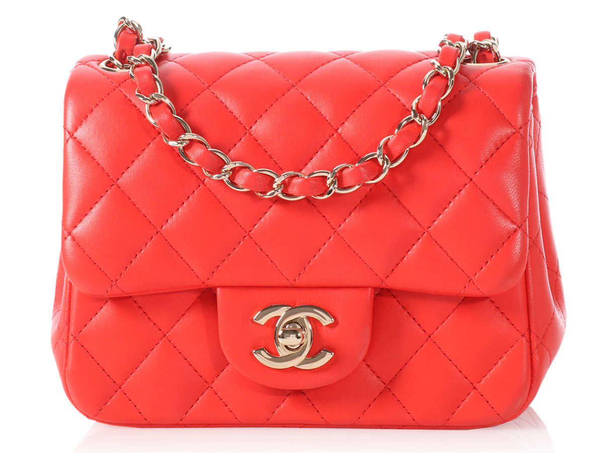Chanel Mini Red Poppy Square Classic