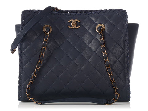 Chanel Navy Whipstitch Shopping Tote