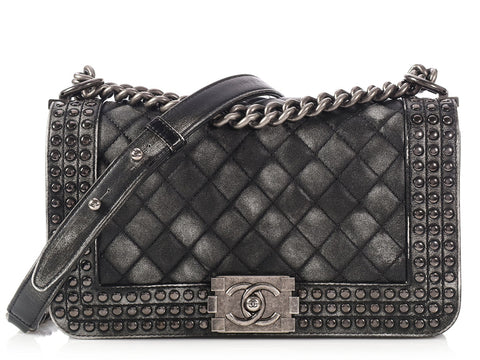 Chanel Old Medium Black and White Studded Boy