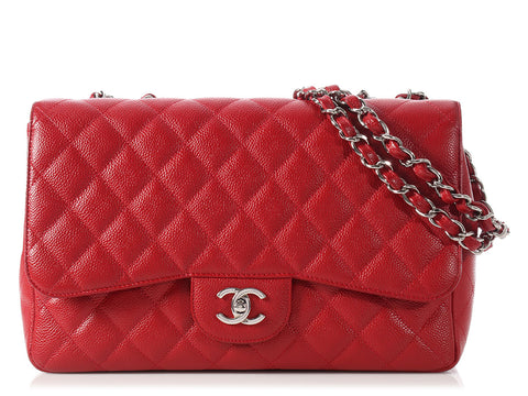 Chanel Jumbo 10C Red Caviar Single Flap Bag