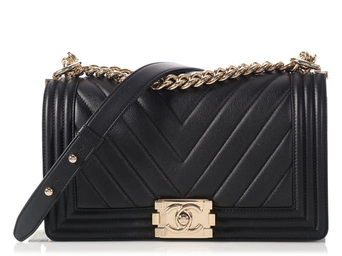 Chanel Medium Black Chevron Boy Bag