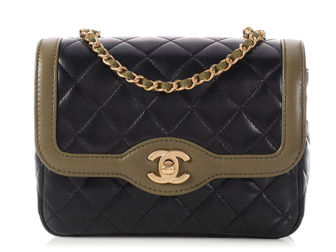 Chanel Two-Tone Black and Khaki Day Flap