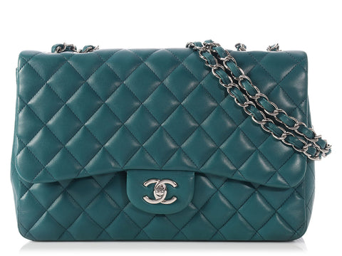 Chanel Jumbo Teal Classic Single Flap