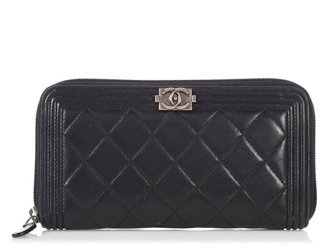 Chanel Black Lambskin Boy Wallet