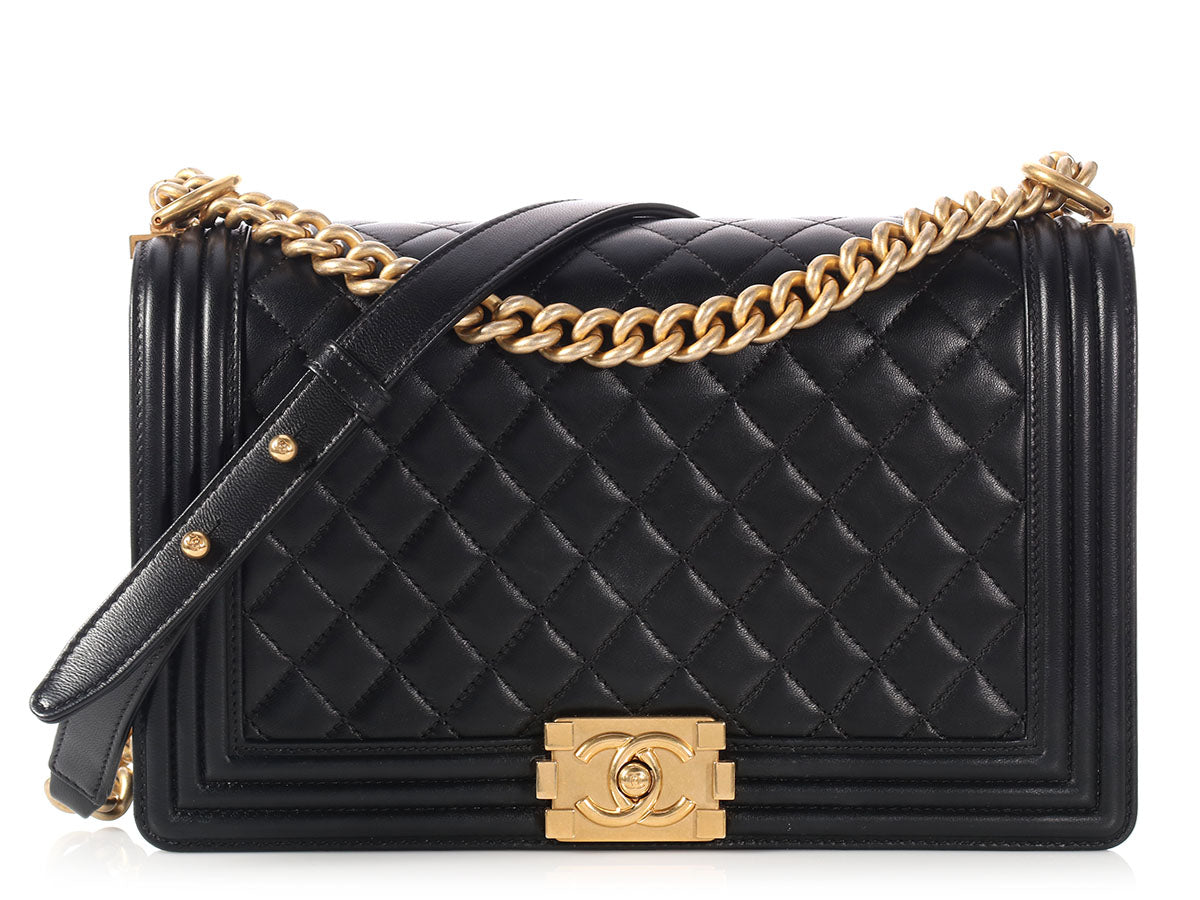 Chanel New Medium Black Lambskin Boy Bag