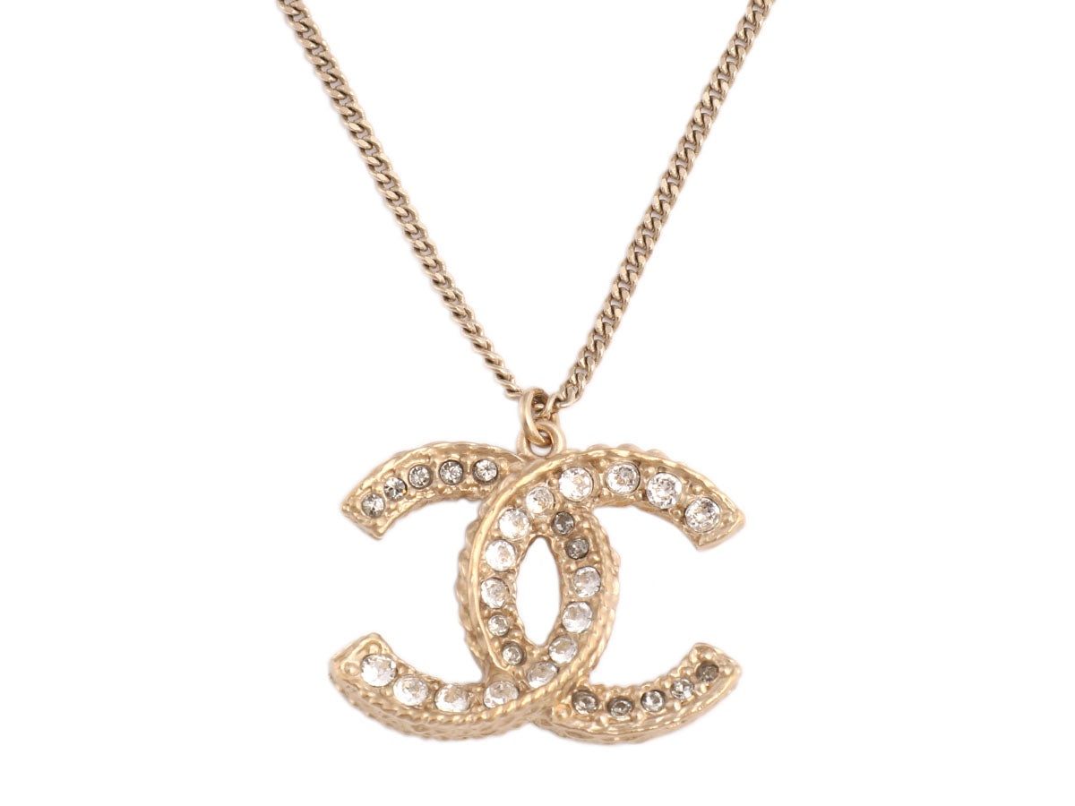 Chanel Large Crystal Logo Necklace