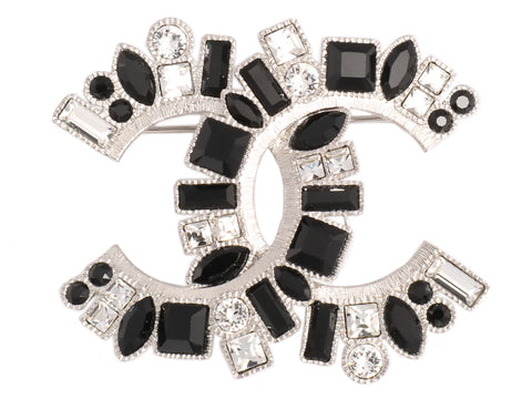 Chanel Large Black and White Crystal Logo Pin