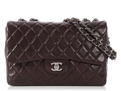 Chanel Jumbo Brown Lambskin Classic Single Flap
