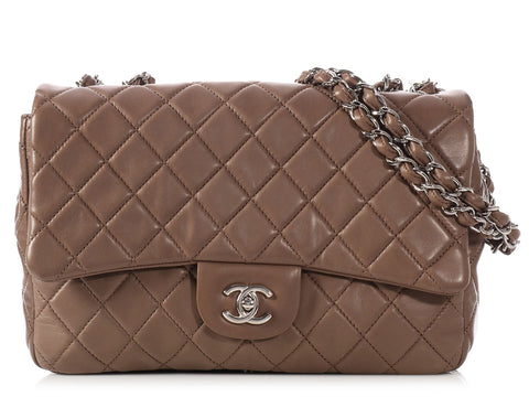 Chanel Jumbo Taupe Lambskin Classic Single Flap