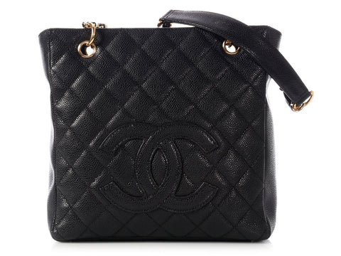 Chanel Petite Black Caviar Shopping Tote PST