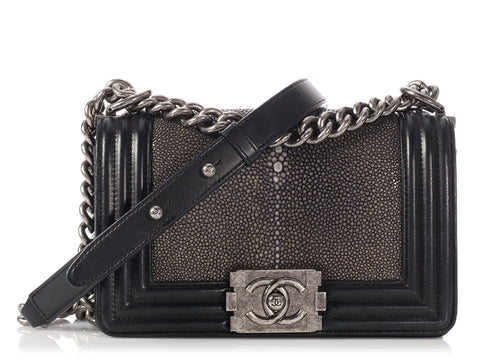 Chanel Small Black Stingray Boy Bag