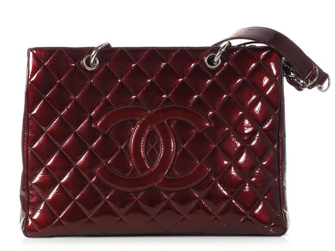 Chanel Burgundy Patent Grand Shopping Tote GST