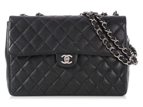Chanel Vintage Black Caviar Jumbo Classic Single Flap