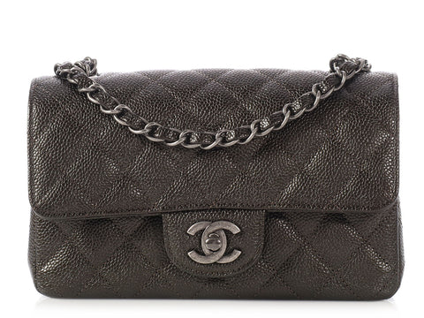 Chanel Mini Metallic Gray Caviar Classic Single Flap