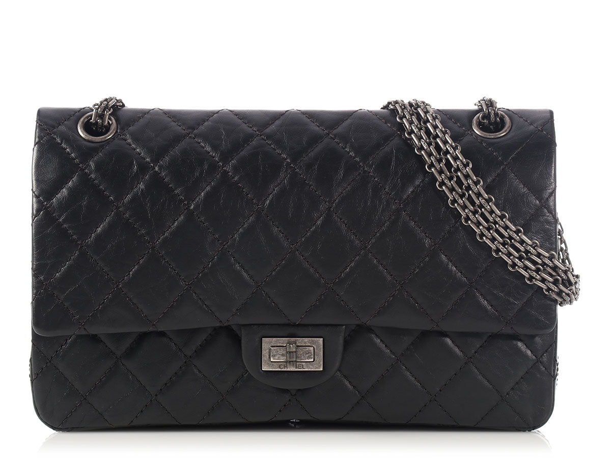 Chanel Black Calfskin Reissue 226 Double Flap