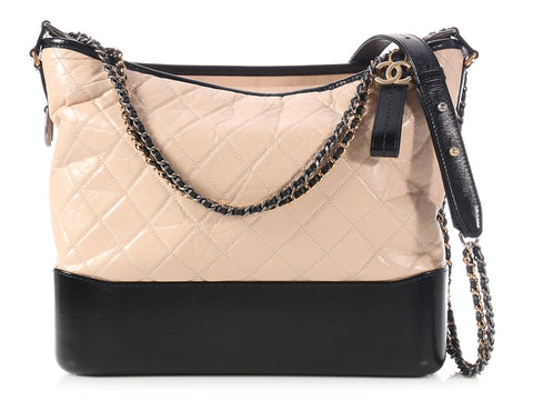 Chanel Large Beige and Black Gabrielle Hobo