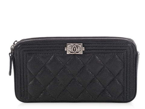 Chanel Black Double Zip Wallet on a Chain WOC