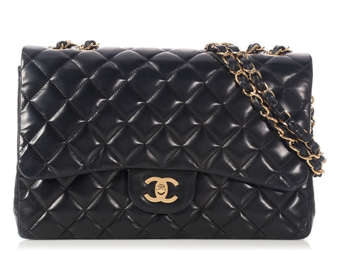 Chanel Jumbo Black Lambskin Classic Single Flap