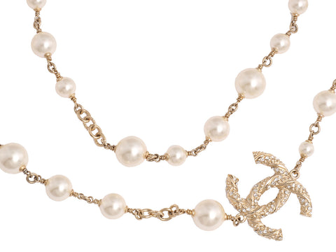 Chanel Long Pearl Crystal CC Logo Necklace