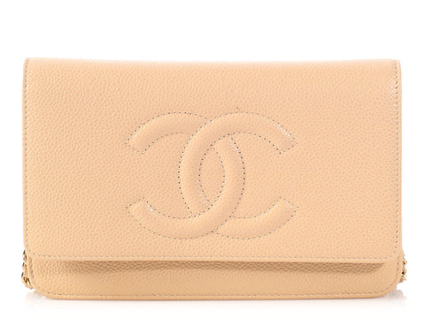 Chanel Beige Clair Caviar Wallet on a Chain WOC