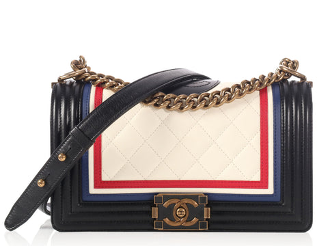 Chanel Old Medium Crest Embellished Lambskin Boy Flap