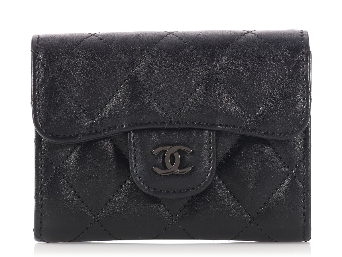 Chanel Black on Black Flap Card Case
