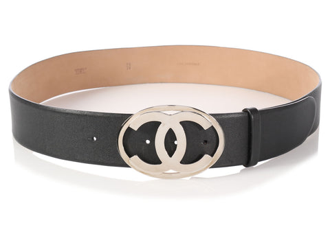 Chanel Black Belt with Double C Buckle