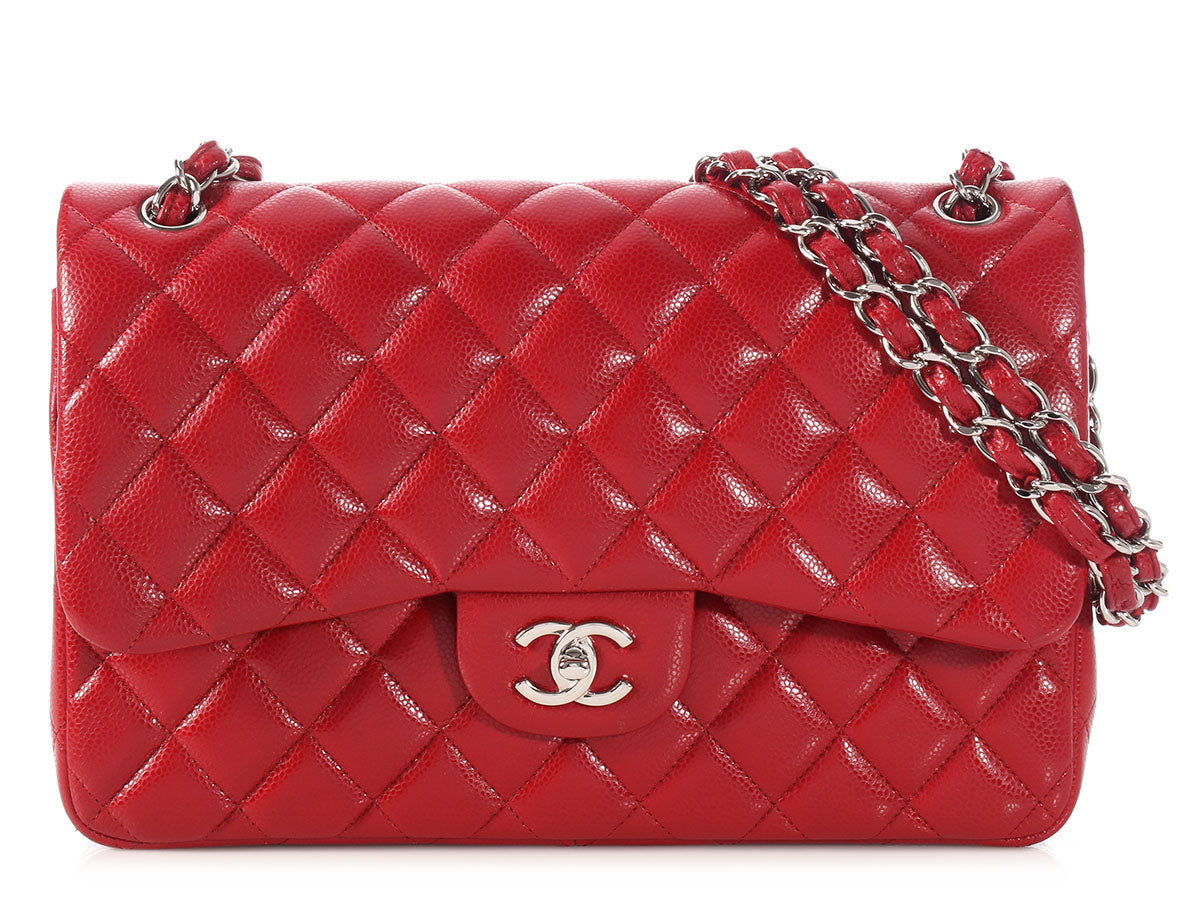 Chanel Jumbo Red 12A Caviar Classic Double Flap