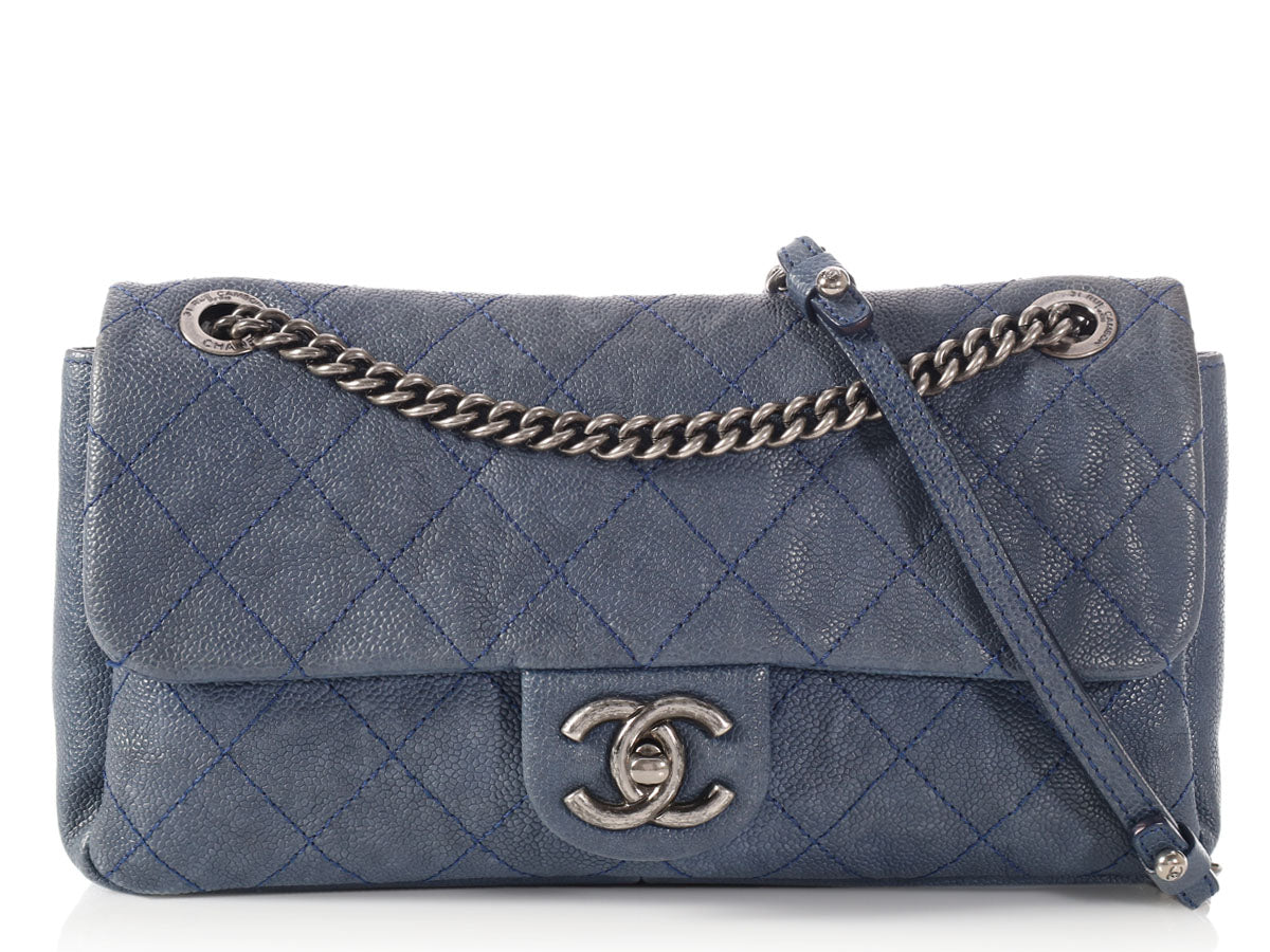 Chanel Blue Quilted Caviar Single Flap