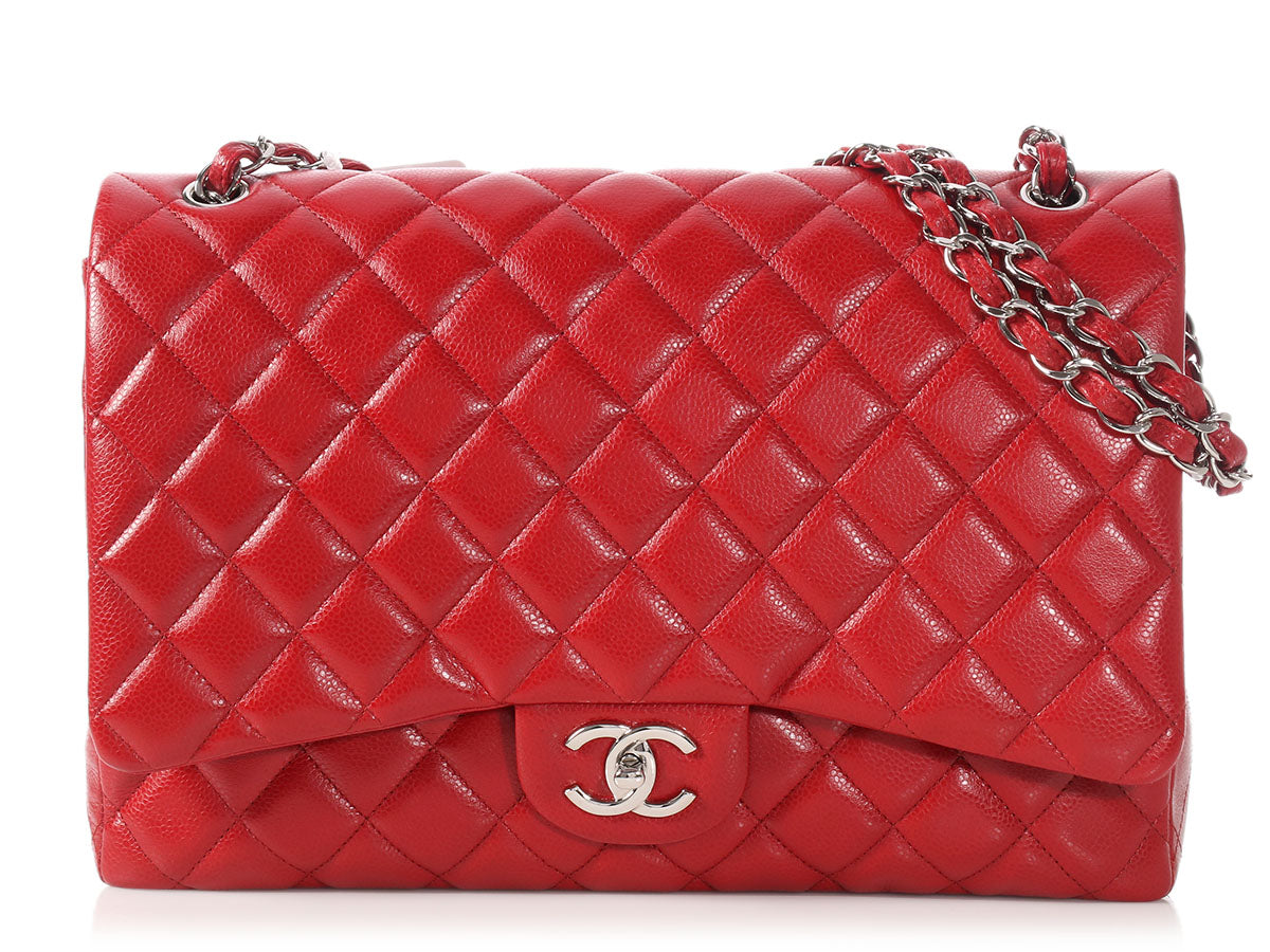 Chanel Maxi Dark Red Quilted Caviar Classic Double Flap