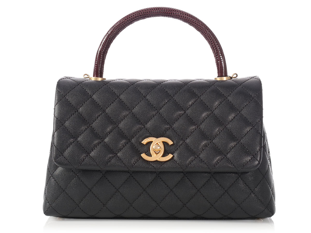 Chanel Small Black Quilted Caviar and Burgundy Lizard Coco Handle Bag 77160f2d95