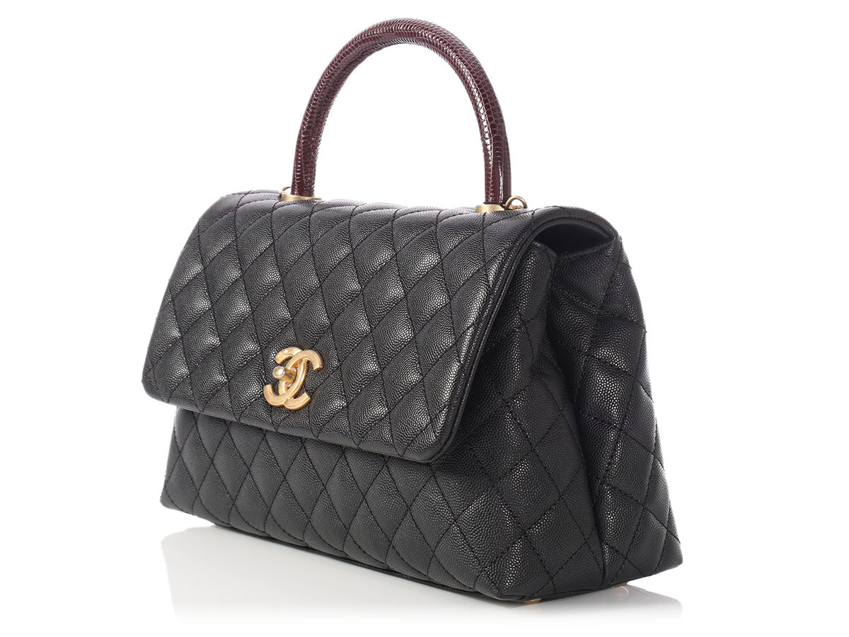 412e1f330aea Chanel Small Black Quilted Caviar and Burgundy Lizard Coco Handle Bag