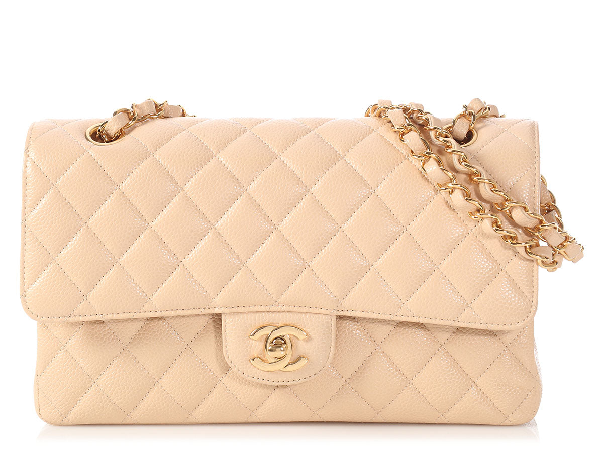 0863b624aa9b9 Chanel Medium Large Beige Quilted Caviar Classic Double Flap