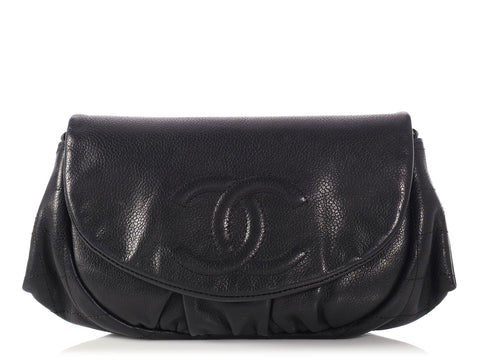 Chanel Black Caviar Half Moon Wallet on a Chain WOC