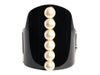Chanel Black Resin and Pearl Logo Bracelet