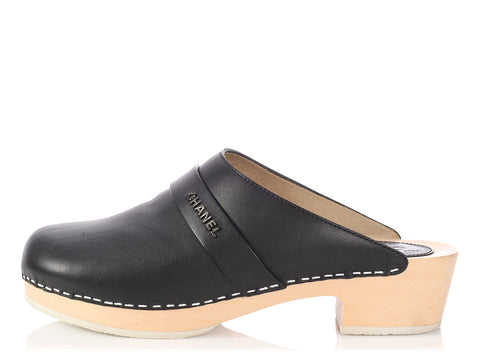 Chanel Black Leather Clogs