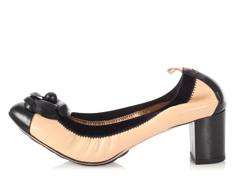 Chanel Beige and Black Camellia Ballet Pumps