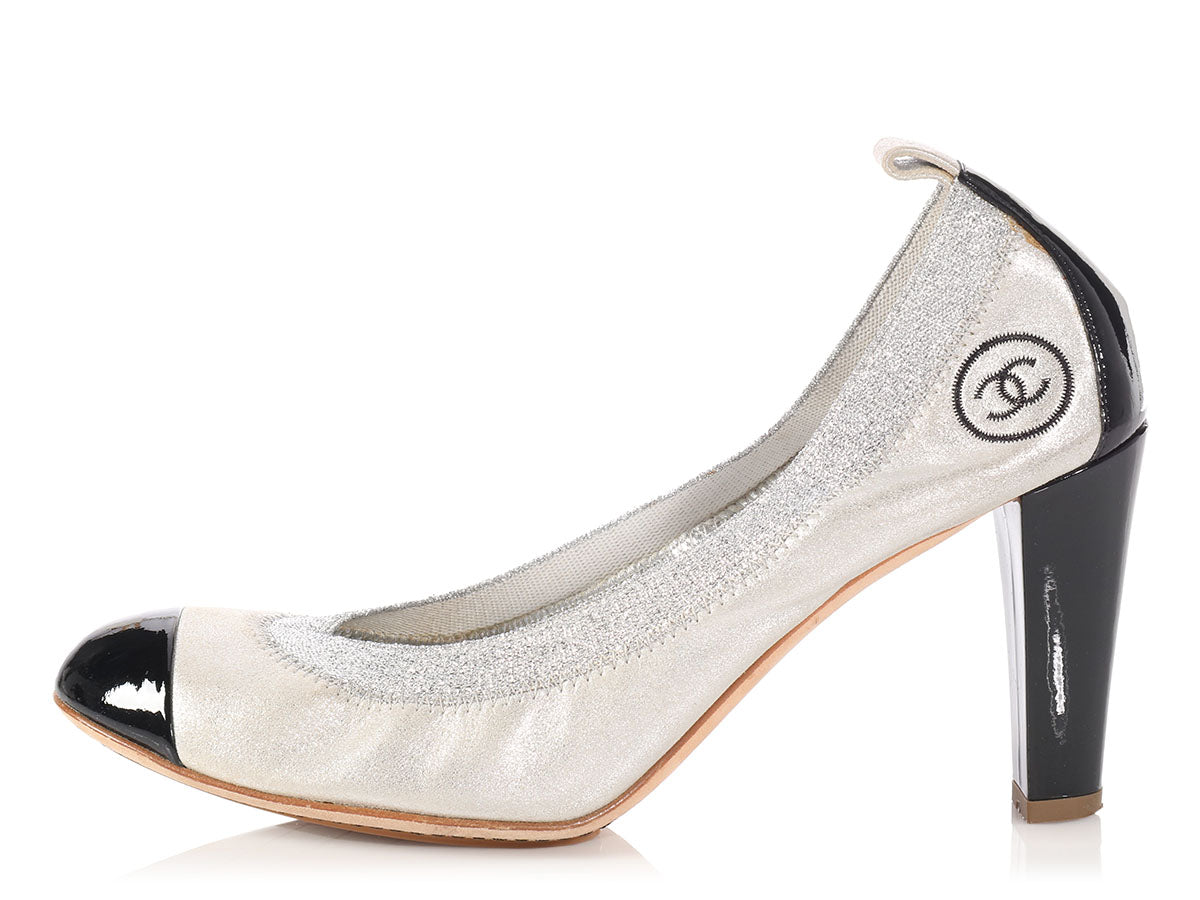 Chanel Silver and Black Cap-Toe Ballerina Pumps